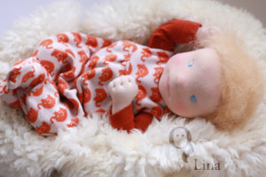 Lillestoff, small elephants, Waldorf, Puppe, doll, felted face